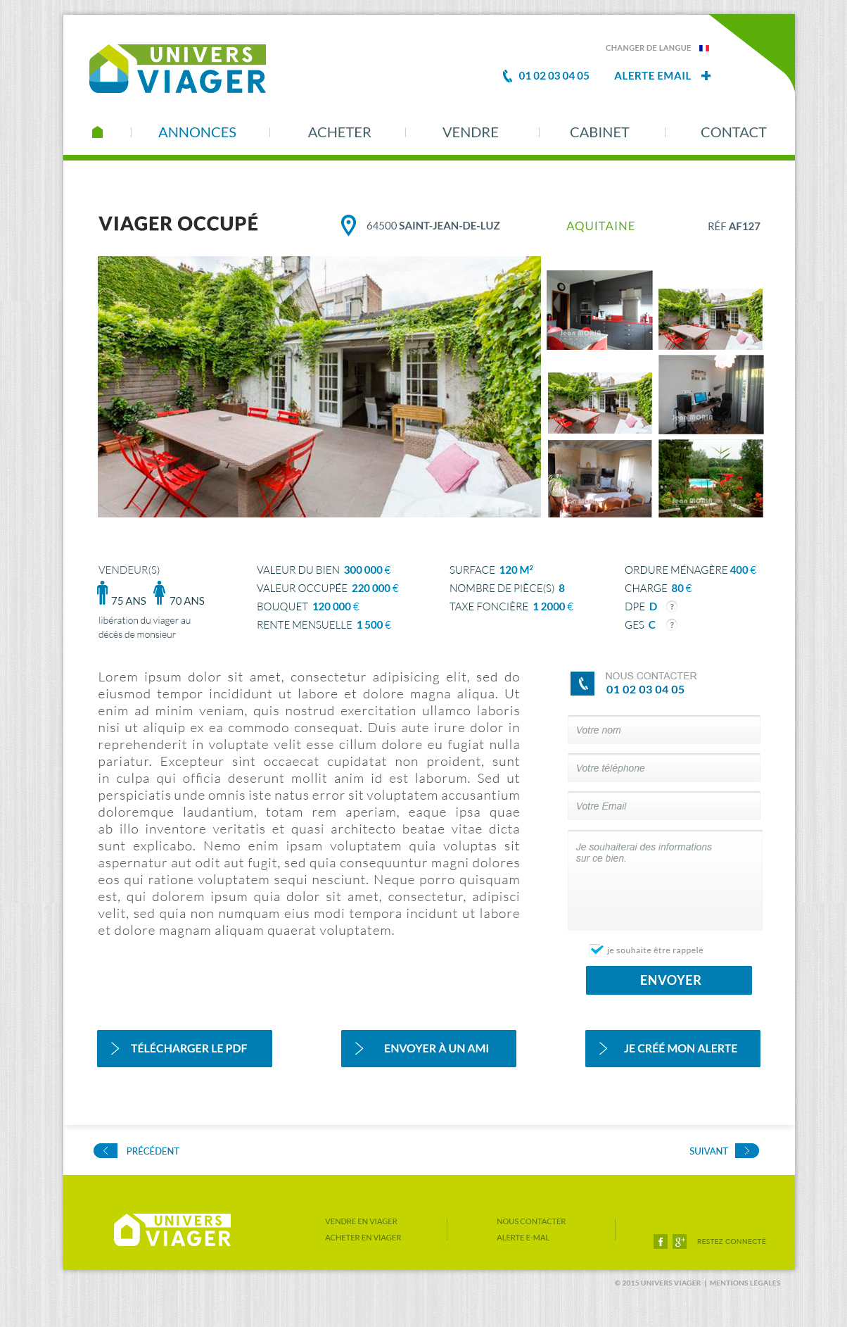 Création web Design du site internet Univers Viager immobilier