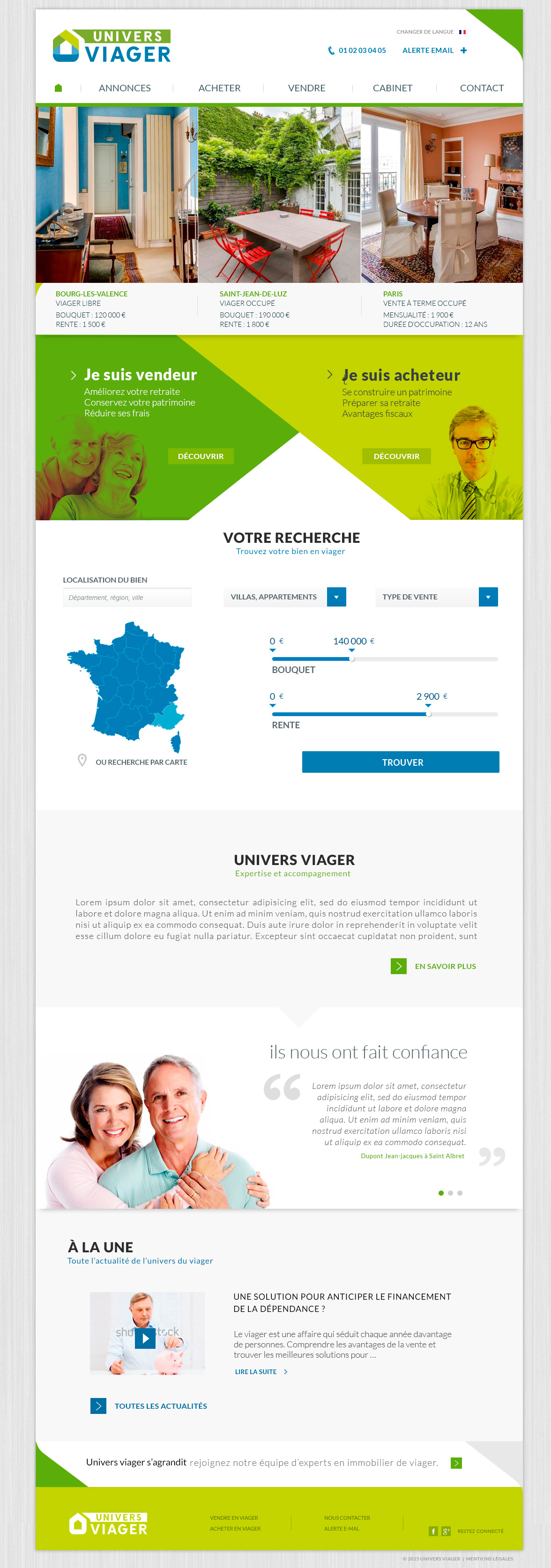 Webdesign du site internet Univers Viager